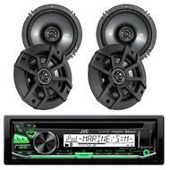 "Kicker 43CSC654 600-Watt 6-1/2"" Inch CS Series 2-Way Black Car Coaxial Speakers (2 Pairs), JVC KD-R97MBS iPod & Android CD MP3 Bluetooth Marine Boat Yacht Outdoor USB AUX AM/FM Radio Receiver"