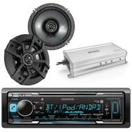 "Kicker 43CSC654 600-Watt 6-1/2"" Inch CS Series 2-Way Black Car Coaxial Speakers (Pair), Enrock Marine 4-Channel Marine/Powersports Amplifier, Kenwood CD receiver with AM/FM tuner"