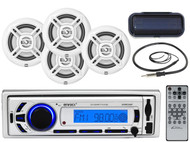 "4 Marine 6.5"" Speakers, Antenna, Enrock Bluetooth USB AUX Marine Radio, Cover"