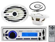 "Enrock Marine Bluetooth USB Radio, Antenna, 6x9"" Marine 260W 2Way Speaker Set"