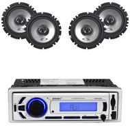 """4 Alpine Car 6.5"""" 440W 2Way Speakers, Enrock Bluetooth USB SD AM FM Mp3 Radio"""