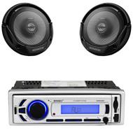 """Enrock USB SD Bluetooth AM FM Radio,2 Kenwood 6.5""""300W Coaxial 2way Car Speakers"""