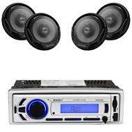 """4 Kenwood 300W 6.5"""" 2Way Car Speakers, Enrock Bluetooth USB SD AM FM Receiver"""