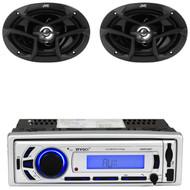 """EKMR256BT USB Bluetooth AM FM Mp3 Radio, JVC 6x9"""" 400W 3Way Car Coaxial Speakers"""