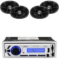 """6x9"""" JVC 400W 3Way Coaxial Car Speakers, Enrock Bluetooth Mp3 AM FM USB Radio"""