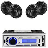 """4 JVC 6.5"""" 300W 2Way Coaxial Car Speakers, Enrock Bluetooth USB AM FM Mp3 Radio"""