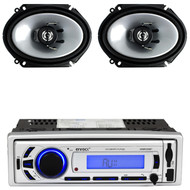 "2 Kenwood 6""x8"" 250W 2Way Car Speakers, Enrock Bluetooth USB AM FM Mp3 Receiver"