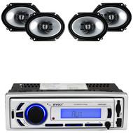 """Enrock Bluetooth USB AM FM SD Radio, Kenwood 6"""" x 8"""" 250W 2Way Car Speaker Set"""