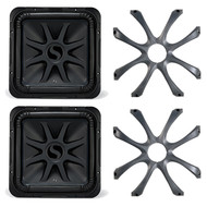 2 x Kicker 44L7S152 Car Audio Solo-Baric 2-Ohm Square Subwoofer (Misaligned Cone), 2 x Kicker 08GL715 Subwoofer Grilles