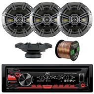 JVC KD-R480 Single DIN In-Dash CD/AM/FM/USB/AUX Car Stereo Receiver, 4x Kicker 40CS654 6.5 inch 2-Way Speakers, Enrock Audio 16-Gauge 50 Foot Speaker Wire