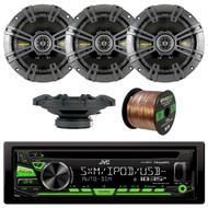 JVC KD-R680S Single DIN In-Dash CD/AM/FM/ Car Stereo Receiver w/ Detachable Faceplate, 4x Kicker 40CS654 6.5 inch 2-Way Speakers, Enrock Audio 16-Gauge 50 Foot Speaker Wire