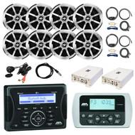 """36-42' Boat: Jensen Marine Audio Bluetooth Receiver, 8x Jensen Boat 6.5"""" Speaker, 2x Milennia 4-Channel Amp, 2x T-Spec Amp Install Kit, Remote Control, JBL USB AUX All In One Mini Plug, Antenna – 40"""""""