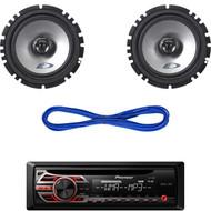 "DEH-150MP Car AUX CD AM FM Radio, Alpine 6.5"" Car Speakers & 50ft Speaker Wire (CMAPN014)"