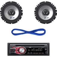 "2 Alpine Car 6.5"" Speaker Set & Wires, JVC In-Dash Car Stereo CD/MP3 AUX Radio (CMAPN040)"