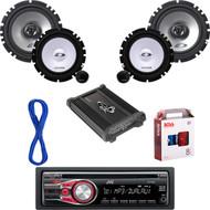 "JVC CD AUX Car Radio, Amp & Install Kit, 6.5"" Alpine Component System w/Wires (CMAPN044)"