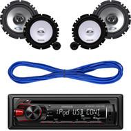 "Kenwood AUX CD USB  AM FM Car Radio, Alpine 6.5"" Speaker System & Speaker Wire (CMAPN313)"