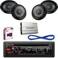"Kenwood CD USB Car Radio, 6.5"" & 6X9"" Speakers/Wires, Bluetooth Amp& Install Kit (CMAPN336)"