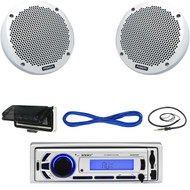 "EKMR256BT Marine Bluetooth AUX USB Receiver, Cover, Antenna, 6"" Speakers/ Wiring (MBNPN609)"