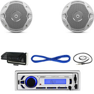 "EKMR256BT Marine Bluetooth USB Radio, Cover, JBL 6.5"" Speakers w/Wires, Antenna  (MBNPN621)"