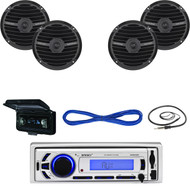 "Marine Bluetooth USB AUX Receiver, Antenna, Cover, Black 6.5"" Speakers & Wiring (MBNPN641)"