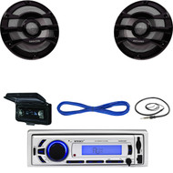 "Marine Bluetooth USB AUX Receiver, Antenna, Cover , 8"" 300W Speakers /50FT Wire (MBNPN645)"