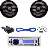 """EKMR256BT Marine Bluetooth USB Radio, Antenna, Housing , 300W 8"""" Speakers/Wiring (MBNPN646)"""