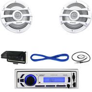 "Marine Bluetooth USB MP3 Radio, Radio Cover, 8"" Marine Speakers w/Wires, Antenna (MBNPN651)"