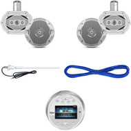 "AQR84W Marine Bluetooth Circle USB Receiver, 6.5""/6x9"" Speakers, Wires, Antenna (MBNPN846)"