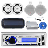 "Marine 6.5"" Speaker Set/Wires, 500W Amp, Enrock USB AUX Receiver, Cover, Antenna (MP16N0037)"