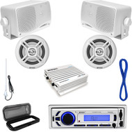 Enrock Marine Bluetooth USB Receiver, Speaker Set w/Wires, Amp, Antenna & Cover (MP16N0041)