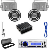 "Marine 3.5"" & 6.5"" Speakers/Wires,Bluetooth USB Radio, Cover, Antenna, 400W Amp (MP16N0053)"