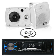 "6.5"" 800W Pyle Marine Box Speakers,Pyle Bluetooth USB Boat Radio, Marine Antenna (MPPK16013)"