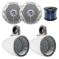 """2X Kicker Marine Tower Enclosure for 6.5-Inch Drivers, 2x JBL 6"""" Speakers,  Wire (R-12KMTESW-1-MS6520)"""