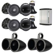 """4x Kicker 6.5"""" Speakers, 4x 6.5"""" Speakers Tower Enclosures, w/ Stereo Amplifier (R-41KMS674C-1-12KMTED)"""