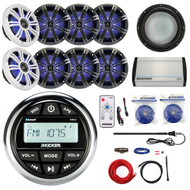 "KMC2 Bluetooth Marine Radio, 8"" LED Speakers, 400W Amplifier and Kit, Antenna (R-KMC2-4X43KM84LCW-40KXM4004)"