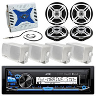 New JVC Marine Radio AUX Bluetooth Player, 1000W Amp,Box+Round Speakers,Antenna (R-MPJM3232)