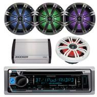 """Boat iPhone AUX Receiver w/8"""" 300W LED Light Speakers, Kicker 400Watt Amplifier (R-MPKK4108)"""