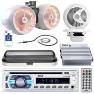"Pyle Marine Bluetooth USB Radio, 6.5"" Speaker Set, Cover,Antenna, 400W Amplifier (R-PLCD43MRB-1-PLMR60W)"