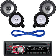 "JVC Car Mp3 AUX CD Receiver, Alpine 6.5"" Car Component System & Speaker Wires (CMAPN043)"