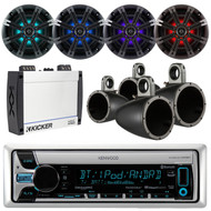 "Kicker 4 Channel Amplifier,Marine Bluetooth AUX Radio,8"" Speakers and Enclosures (EKICMP16722)"