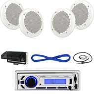 "Enrock EKMR256BT Bluetooth USB Boat Radio,Cover,6.5"" 200W Speakers/Wires,Antenna (MBNPN617)"