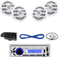 "Enrock Marine Bluetooth USB Mp3 Radio,Antenna,Cover,8"" 2Way Marine Speakers/Wire (MBNPN653)"