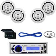 """EKMR256BT Marine Bluetooth AUX USB Radio,Cover,Antenna,Kenwood 6.5""""Speakers/Wire (MBNPN695)"""