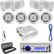 Bluetooth Marine USB AUX Radio, White Speaker Set/Wires, Antenna,400W Amp, Cover (MP16N0042)