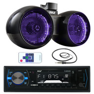 "8"" Marine 600W Tower Speakers, Pyle Marine Bluetooth AUX SD USB Radio, Antenna  (MPPK16006)"