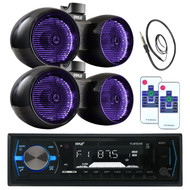 "2 Pyle Marine 6.5"" LED Tower Speaker Set, Bluetooth Pyle USB Radio, Antenna  (MPPK16016)"