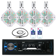 "White LED 8"" Marine 260W Wake Board Speakers, Bluetooth Pyle USB Radio, Antenna (MPPK16025)"