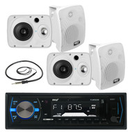 "4 Marine 6.5"" 800W Box Speakers, Pyle Bluetooth AM FM USB Radio, Marine Antenna (MPPK16028)"