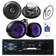 "8"" Marine Wake Board Speaker, 6.5""Speakers, Pyle Bluetooth USB Receiver, Antenna (MPPK16041)"