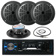 "Black 4"" 100W Marine Speakers, Antenna, Pyle Black AM FM AUX USB Marine Radio (MPPK16082)"